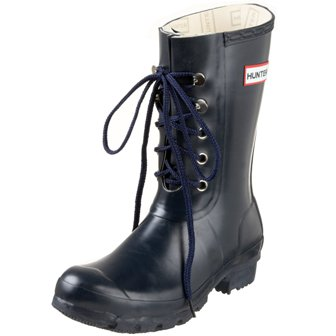 Hunter Lace Up Short Rain Boot in Navy